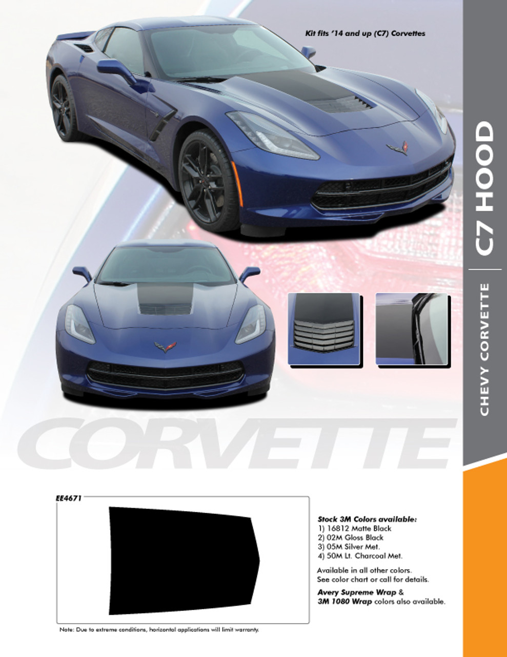 2014 and up Chevrolet Corvette C7 Stingray Rally Racing Double Stripes Decals