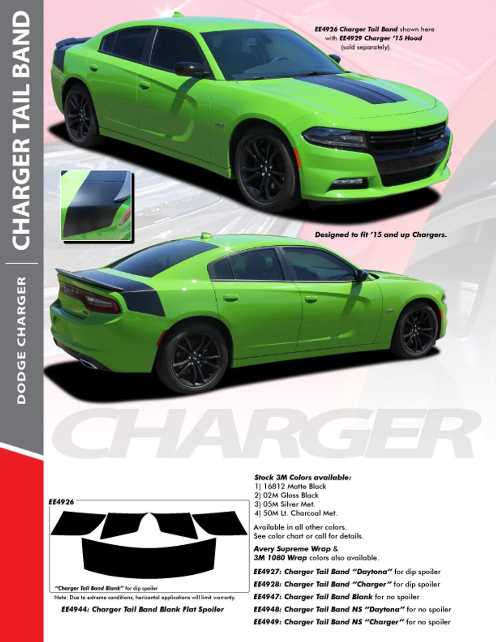 TAILBAND 15 : 2015-2018 Dodge Charger Hemi Daytona R/T SRT 392 Hellcat  Mopar Blackout Style Rear Decklid Trunk Vinyl Graphics Decals Kit
