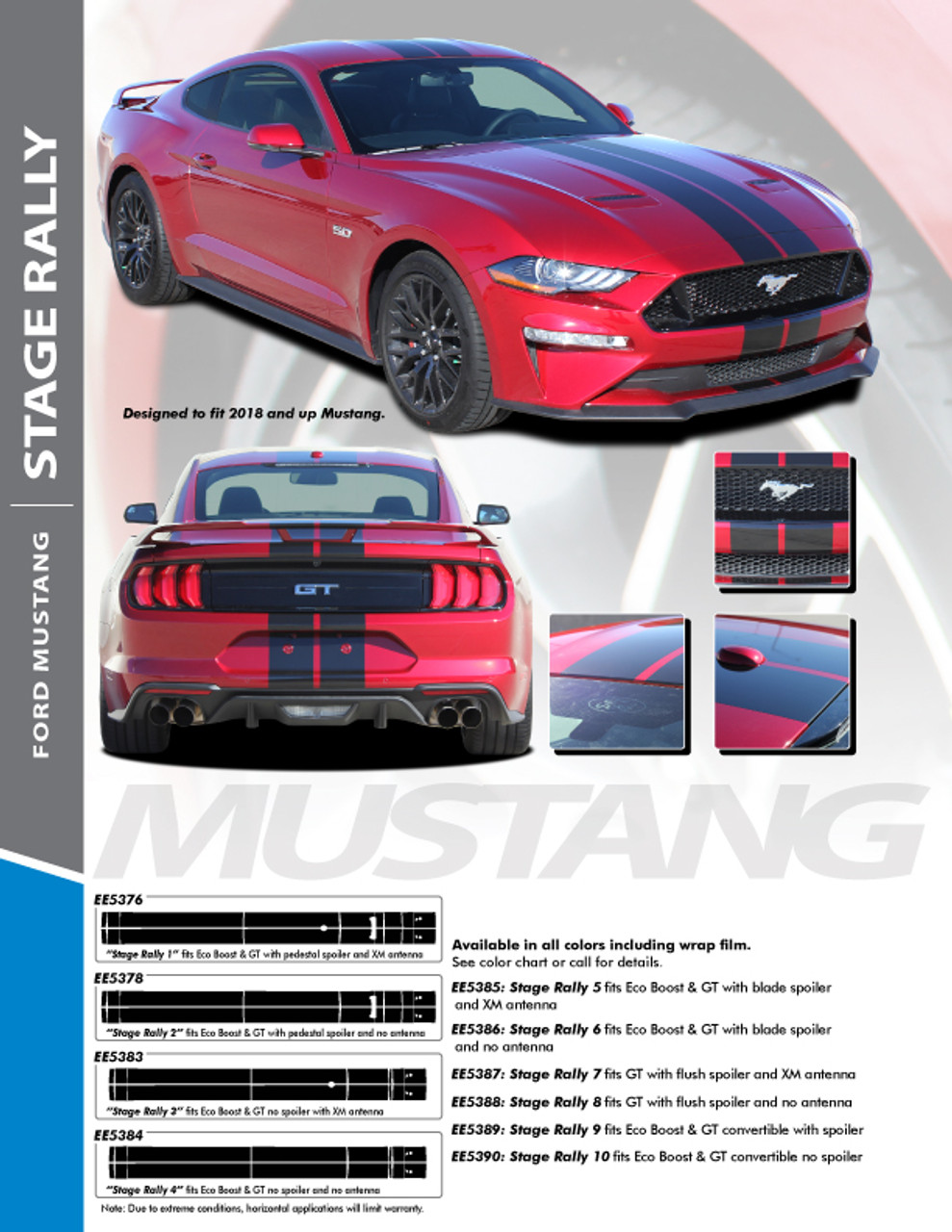 """2018 2019 STAGE RALLY Ford Mustang Racing Stripes 7/"""" Wide Decals Vinyl Graphics"""