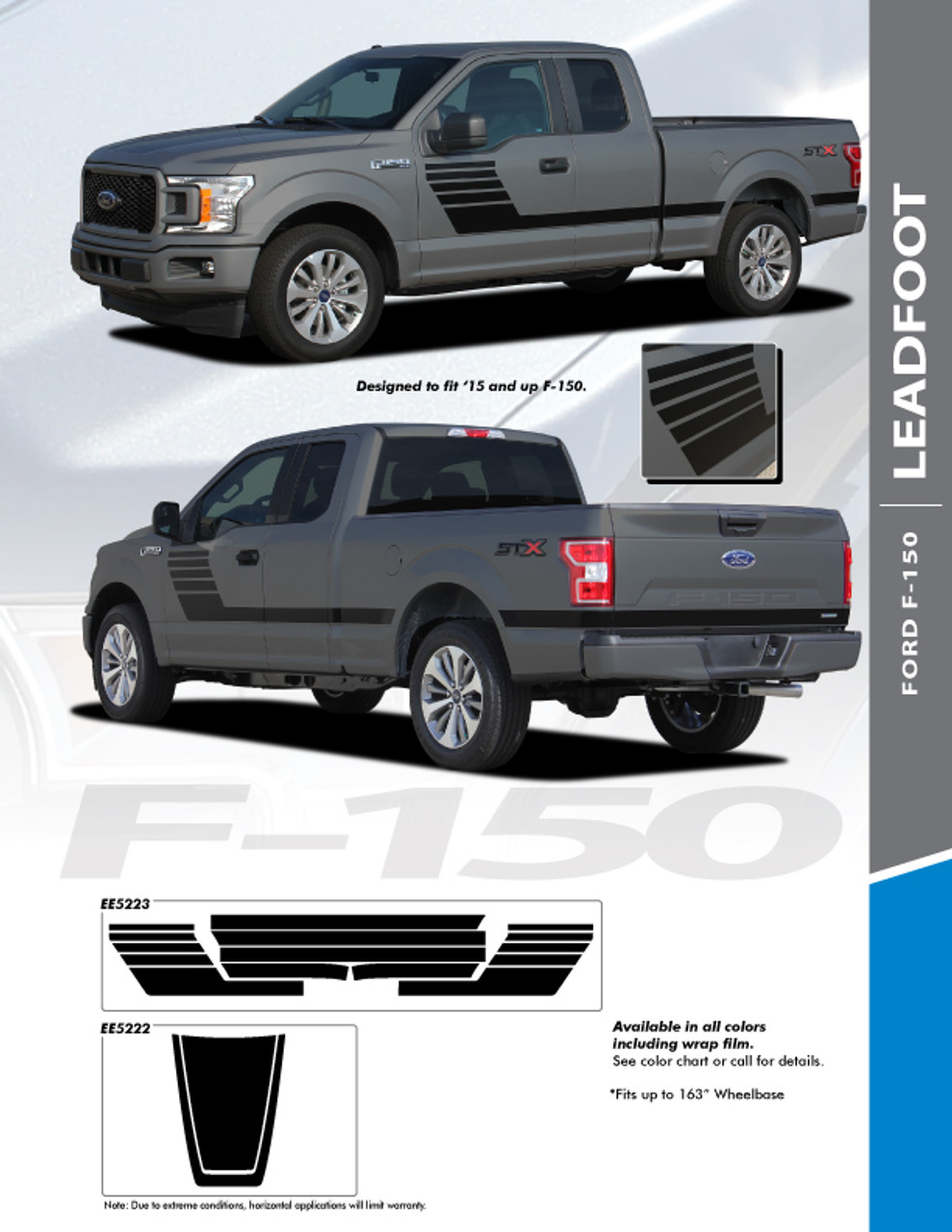 2018 F150 Colors >> Lead Foot Hood 2015 2018 Ford F 150 Special Edition Appearance Package Blackout Vinyl Graphics Decals Kit