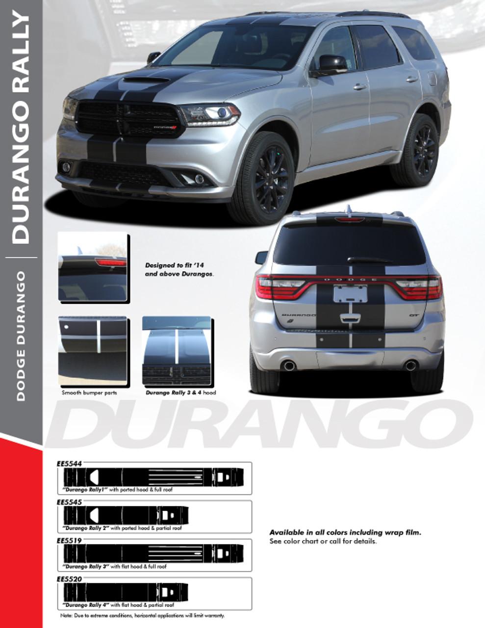 Dodge Durango Racing Stripes Vinyl Graphics Decals Rally 2014 2020