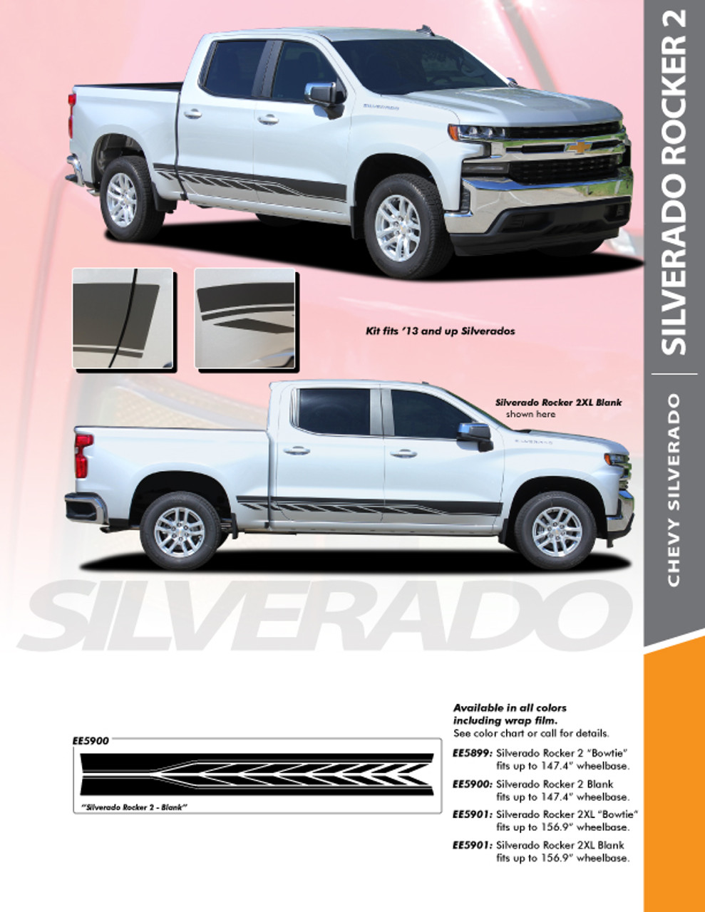 2019 Chevy Silverado Stripes ROCKER ONE Door Decals Rocker 3M Vinyl Graphics Kit