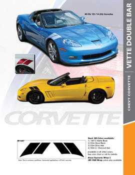 C6 DOUBLE BAR : 2005-2013 Chevy C6 Corvette Hash Marks Double Bar Hood and Fender Vinyl Graphics Stripes Kit