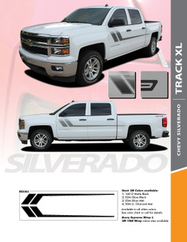 TRACK XL : 2007-2018 Chevy Silverado or GMC Sierra Side Door Hockey Decal Vinyl Graphic Stripe Kit