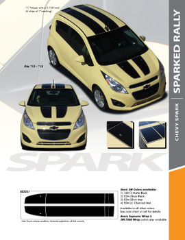 SPARK RALLY : 2013-2016 Chevy Spark Racing Vinyl Graphic Stripe Rally Decals Kit