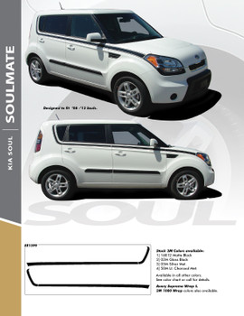 SOUL MATE : 2010- 2013 Kia Soul Upper Body Line Accent Vinyl Graphics Decal Stripe Kit