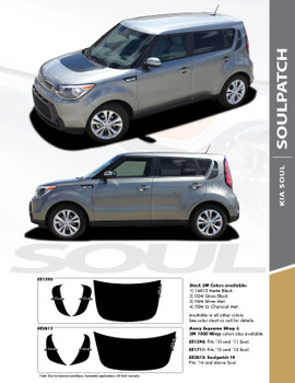 SOUL PATCH : 2010-2019 Kia Soul Factory Style Hood Blackout and Side Accent Vinyl Graphics Decal Stripe Kit