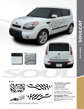 SOUL CAT : 2010-2013 Kia Soul Hood Side Door Cat Paw Vinyl Graphics Decal Stripe Kit