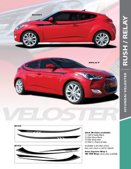 RUSH : 2011-2018 Hyundai Veloster Upper Door Accent Vinyl Graphic Stripes Decal Kit