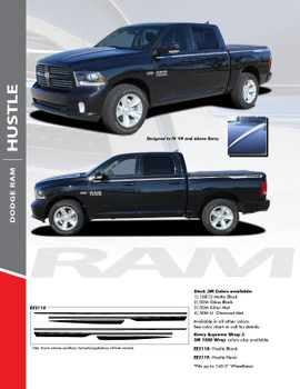 HUSTLE : 2009-2018 Dodge Ram Hood Spears and Rear Bed Side Stripes Vinyl Graphics Decals Kit