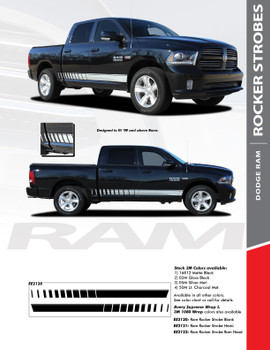 ROCKER STROBES : 2009-2018 Dodge Ram Lower Rocker Panel Door Stripes Vinyl Graphics Decal Kit