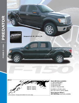 PREDATOR : 2009-2014 Ford 150 F-Series Raptor Style Mudslinger Rear Truck Bed Vinyl Graphics Decals Stripe Kit