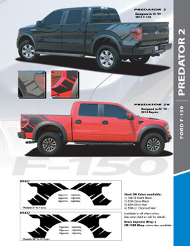 "PREDATOR 2 : 2009-2014 Ford F-Series ""Raptor"" Style Rear Truck Bed Vinyl Graphics Decals Stripes Kit"