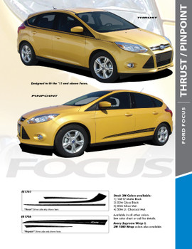 PINPOINT : 2012-2017 Ford Focus Side Door Accent Vinyl Graphics Striping Decals Kit
