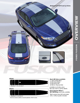 OVERVIEW : 2013-2018 Ford Fusion Center Hood Roof Trunk Spoiler Vinyl Graphics Decals Stripe Kit
