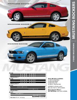 WILDSTANG ROCKER ONE : 2005-2009 Ford Mustang Lower Rocker Panel Stripes Vinyl Graphic Decals