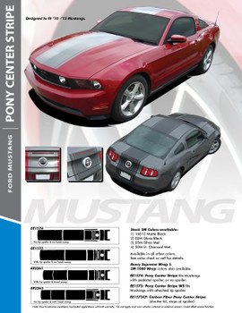 PONY CENTER : 2010-2012 Ford Mustang Wide Center Hood Roof Trunk Racing Stripe Vinyl Graphics Kit