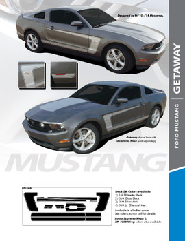 GETAWAY : 2010-2012 Ford Mustang BOSS Style C-Stripe Vinyl Graphic Decal Stripes Kit