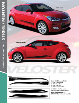 MENTUM : 2011-2018 Hyundai Veloster Lower Body Rocker Panel Vinyl Graphic Stripes Decal Kit