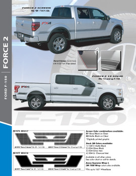 "FORCE TWO SCREEN : 2009-2014 and 2015-2020 Ford F-150 Hockey Stripe ""Appearance Package Style"" Vinyl Graphics Decals Kit"
