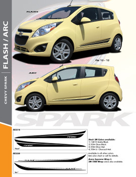 FLASH : 2013-2016 Chevy Spark Lower Rocker Panel Vinyl Graphic Stripe Decals Kit