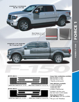 "FORCE ONE SOLID : 2009-2014 and 2015-2020 Ford F-150 Hockey Stripe ""Appearance Package Style"" Vinyl Graphics Decals Kit"