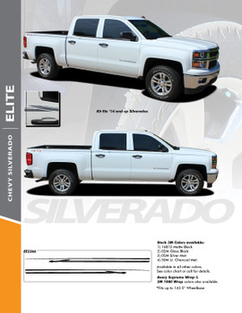 ELITE : 2014-2018 Chevy Silverado Upper Body Pin Striping Vinyl Graphic Decal Stripe Kit