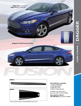 DAGGER : 2013-2018 Ford Fusion Hood and Lower Door Body Vinyl Graphics Decals Stripe Kit