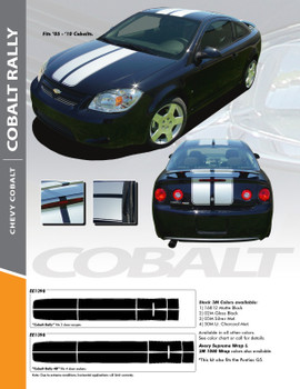 COBALT RALLY : 2005-2010 Chevy Cobalt Rally Racing Stripes Hood Roof Trunk Spoiler Vinyl Graphics Decals Kit