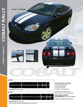 COBALT RALLY : 2005-2010 Chevy Cobalt Rally Racing Stripes Hood Roof Trunk Spoiler Vinyl Graphics Decals Kit