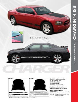 "CHARGIN 5 : ""Charger"" Style Vinyl Graphics Kit for 2006 2007 2008 2009 2010 Dodge Charger"