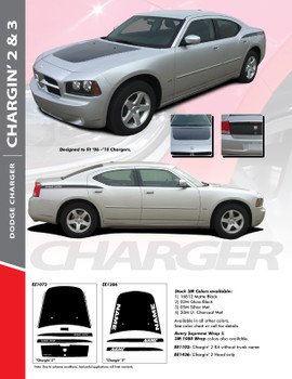 "CHARGIN 3 : ""Hemi"" and ""Daytona"" Style Vinyl Graphics Kit for 2006 - 2010 Dodge Charger"