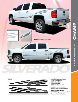 CHAMP : 2014-2018 Chevy Silverado or GMC Sierra Checkered Flag Bed Side Vinyl Graphic Decal Stripe Kit