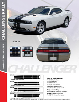 "RALLY : 2011-2014 Dodge Challenger 10"" Racing Stripes Vinyl Graphics Rally Striping Kit"