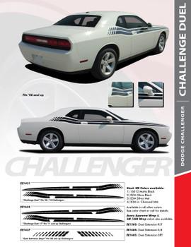 DUEL : 2008-2020 Dodge Challenger Upper Door Split Strobe Vinyl Graphic Decal Stripe Kit