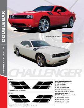 CHALLENGER DOUBLE BAR : 2008-2018 Dodge Challenger Hood to Fender Stripes Hash Decal Vinyl Graphics Kit