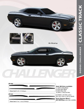 CLASSIC TRACK : 2008-2018 Dodge Challenger Upper Door Accent Vinyl Graphic Striping Decal Kit