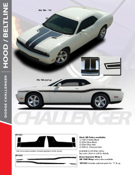 BELTLINE : 2008-2018 Dodge Challenger Mid-Body Line Accent Stripe Vinyl Graphics Kit