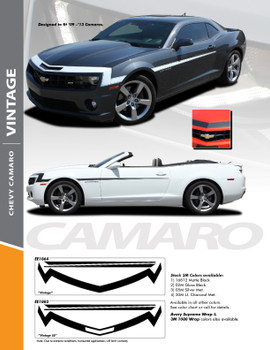 VINTAGE : 2010-2013 Chevy Camaro 1968 Style Nose Front Fascia Vinyl Graphics Stripe Decal Kit