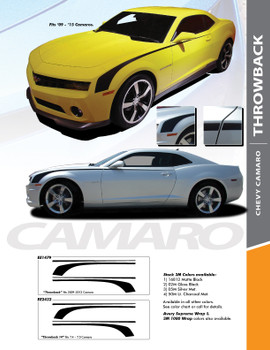 THROWBACK : 2010-2015 Chevy Camaro Original Hockey Stick OEM Style Vinyl Graphics Side Door Stripe Decal Kit