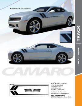 TRACK : 2010-2015 Chevy Camaro Side Door Hockey Striping Vinyl Graphics Decal Kit
