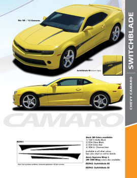 SWITCHBLADE : 2010-2015 Chevy Camaro Door Side Spears Hood Spikes Striping Vinyl Graphics Decals Kit