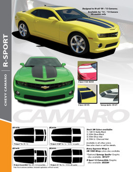 "R-SPORT : 2010-2015 Chevy Camaro Exact Factory Replica ""OE Style"" Hood Trunk Vinyl Decal Rally Racing Stripes Kit"