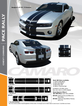 """PACE RALLY : 2010-2013 Chevy Camaro Indy Style 10"""" Racing Stripes Bumper Hood Roof Trunk Vinyl Graphics Decal Kit"""