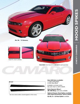 HOOD SPIKES : 2010-2015 Chevy Camaro Hood Spike Striping Vinyl Graphic Decal Set