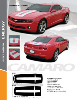 ENERGY : 2010-2015 Chevy Camaro SEMA Style Hood Trunk Stripes Vinyl Graphic Accent Decals