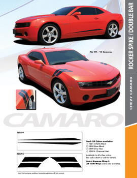DOUBLE BAR : 2010-2015 Chevy Camaro LeMans Style Hood Fender Hash Stripes Vinyl Graphic Decal Kit