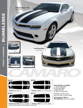 BUMBLEBEE : 2010-2013 Chevy Camaro Racing Stripes Hood Vinyl Graphics SS RS Trunk Spoiler Decals Kit