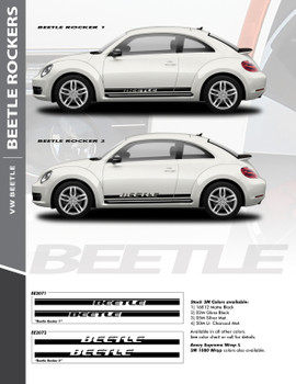 BEETLE ROCKER TWO : 2012-2019 Volkswagen Beetle Lower Door Rocker Panel Vinyl Graphics Striping Decal Kit