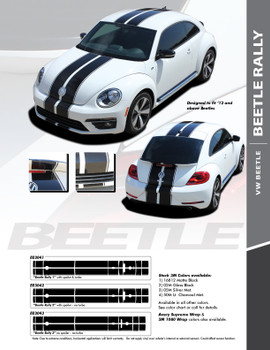 BEETLE RALLY : 2012-2019 Volkswagen Beetle Complete Bumper to Bumper Rally Racing Stripes Vinyl Graphic Decal Kit